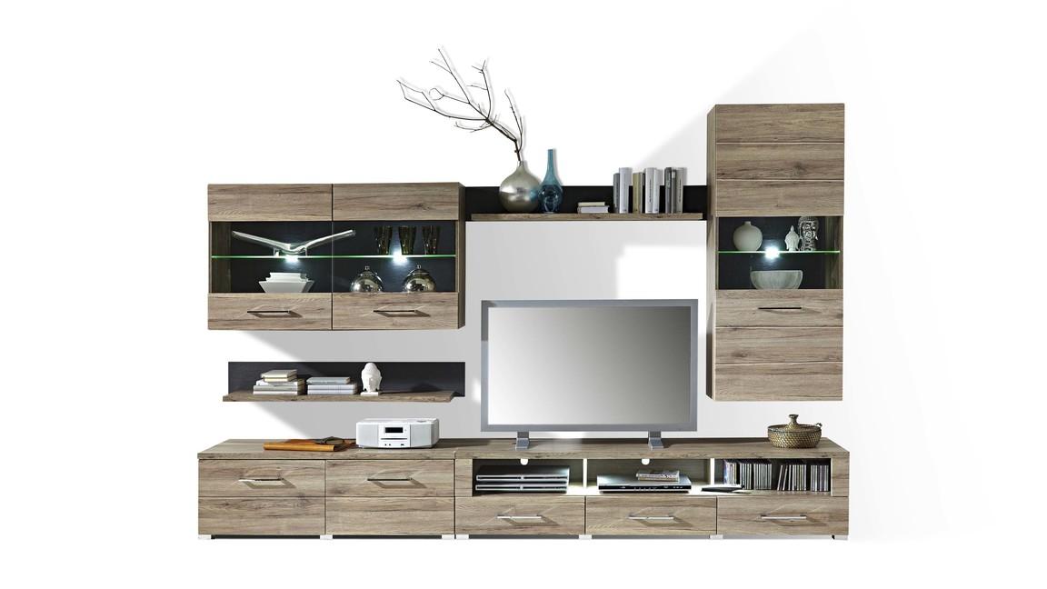 moderne Wohnwand mit Vitrinen und TV-Möbel