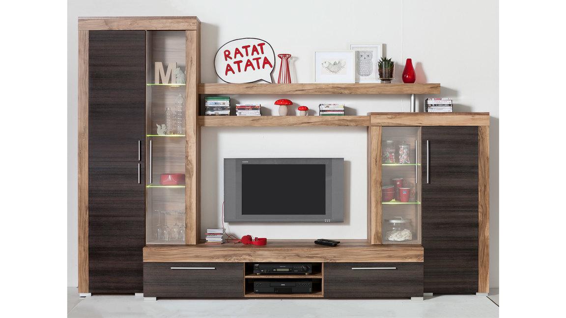 Wohnwand mit Vitrinen und einem TV Lowboard