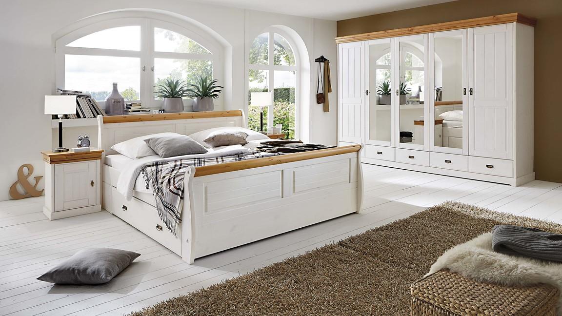3S frankenmöbel Schlafzimmer im nordischen Landhaus-Stil mit Kleiderschrank